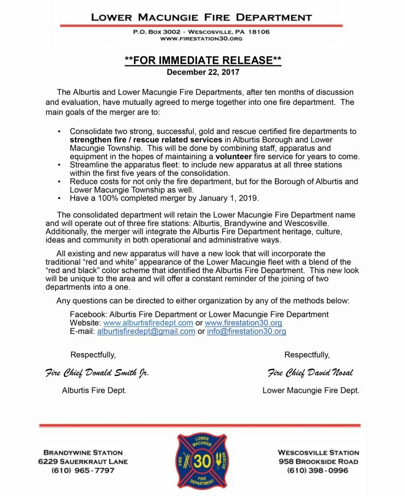 Alburtis Lower Macungie Fire Department Merger Announcement Click The Image For A Pdf Version More Information Here Full Presentation Power Point